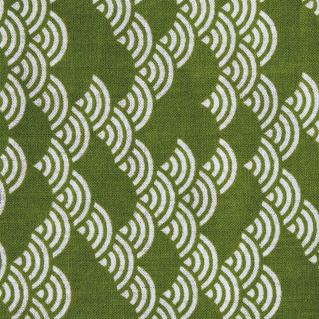 面手拭い (黄緑青海波) 日本製