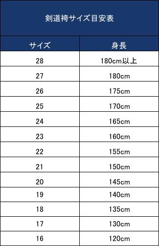 袴サイズ目安表